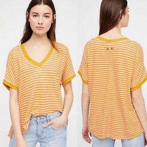 Free People - Striped Raw Hem Take Me Tee - M